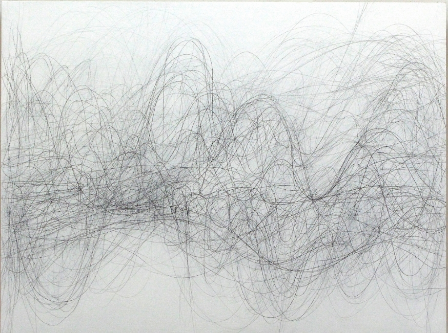 Margaret Neill,  ADVANCE , 2015 graphite on paper mounted on panel, 36 x 48 inches, $5500.