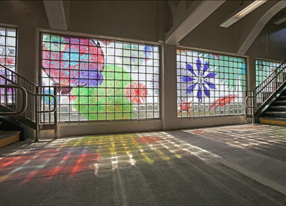 MTA - Arts for Transit, Rockaway, NY (installation view), 2011, stained glass Fabrication: Peters Studios Photo credit: Rob Miraldi