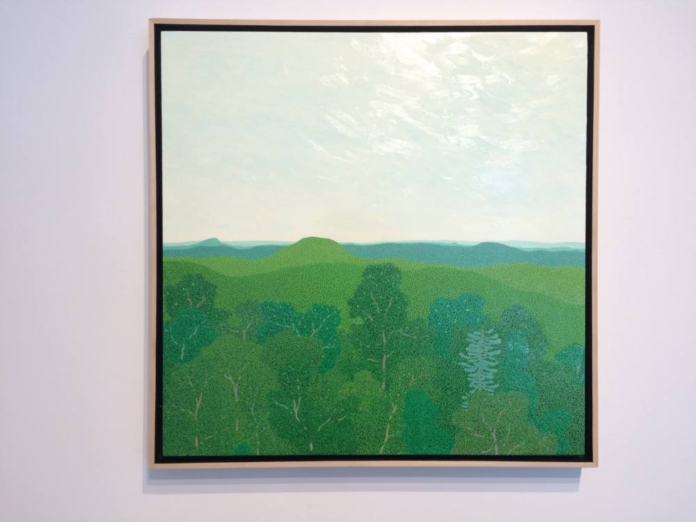 View From Wyatt Mountain Looking East  (installation view), 2015, oil on panel 18 x 18 inches (unframed), 18.75 x 18.75 inches (framed), $4000. (framed)