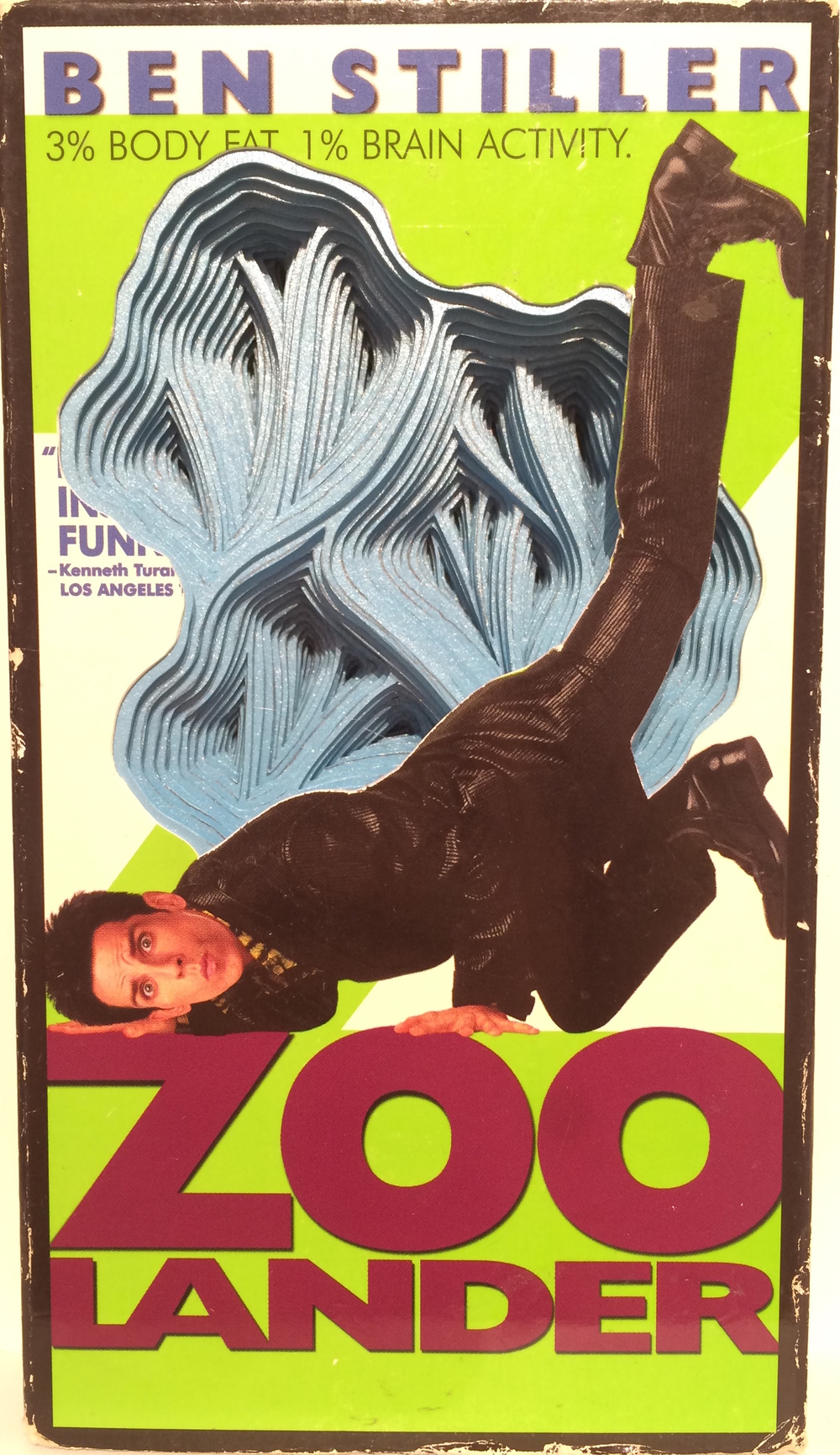 Zoolander , 2015 hand-cut paper and VHS cover,   7.5 x 4.25 x 1, $200.