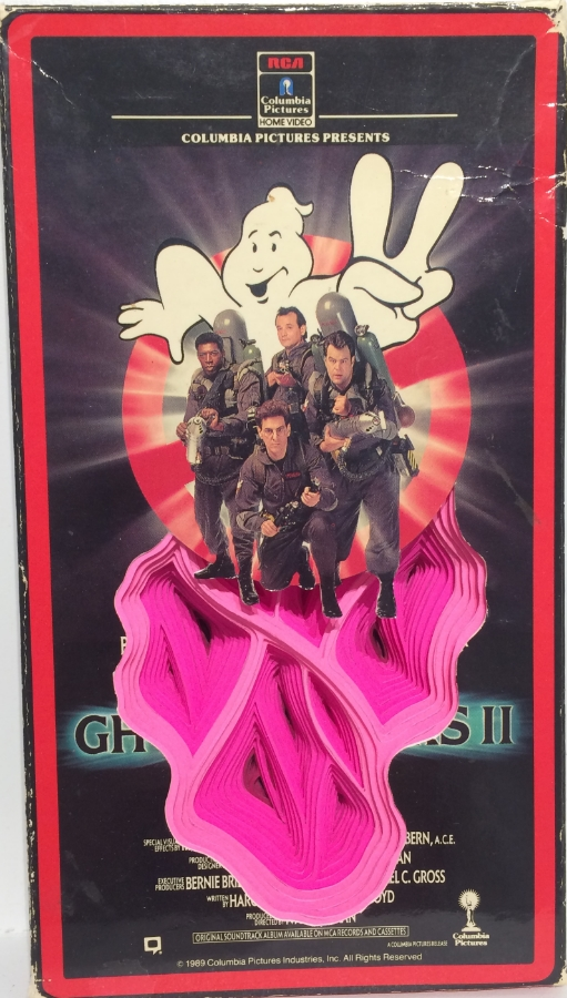 Ghostbusters , 2015 hand-cut paper and VHS cover,   7.5 x 4.25 x 1, $200.