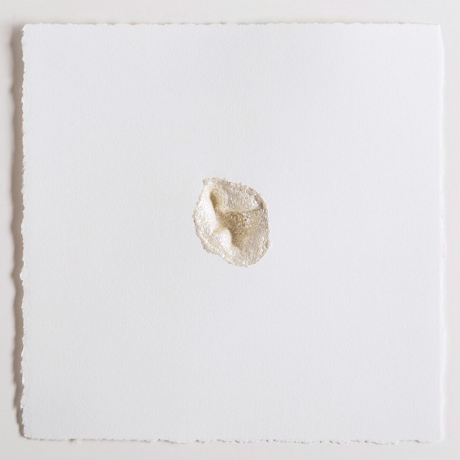Subsurface 6 , 2012, acrylic, mica, polymer, on paper, 7 x 7 inches, $1200. (framed)