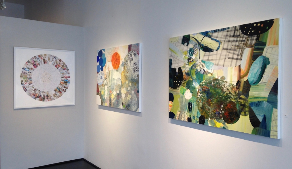 Installation view (left to right):  Croquet,   Blue Jay  (sold) and  Up for Sun