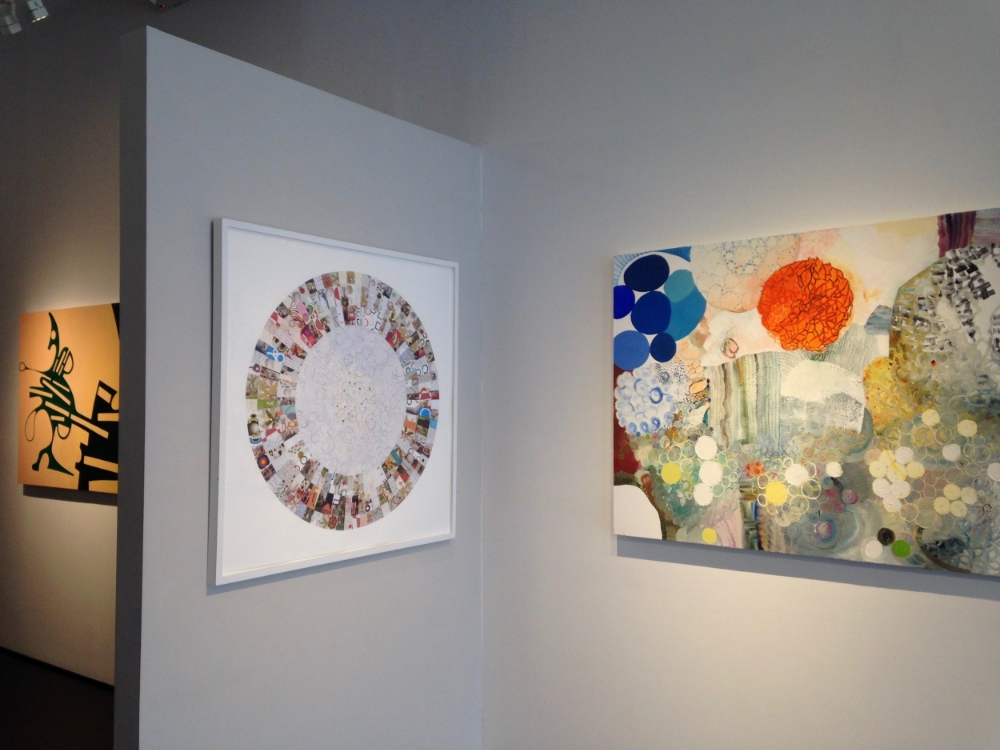 Installation view (left to right):  Croquet  and  Blue Jay  (sold)