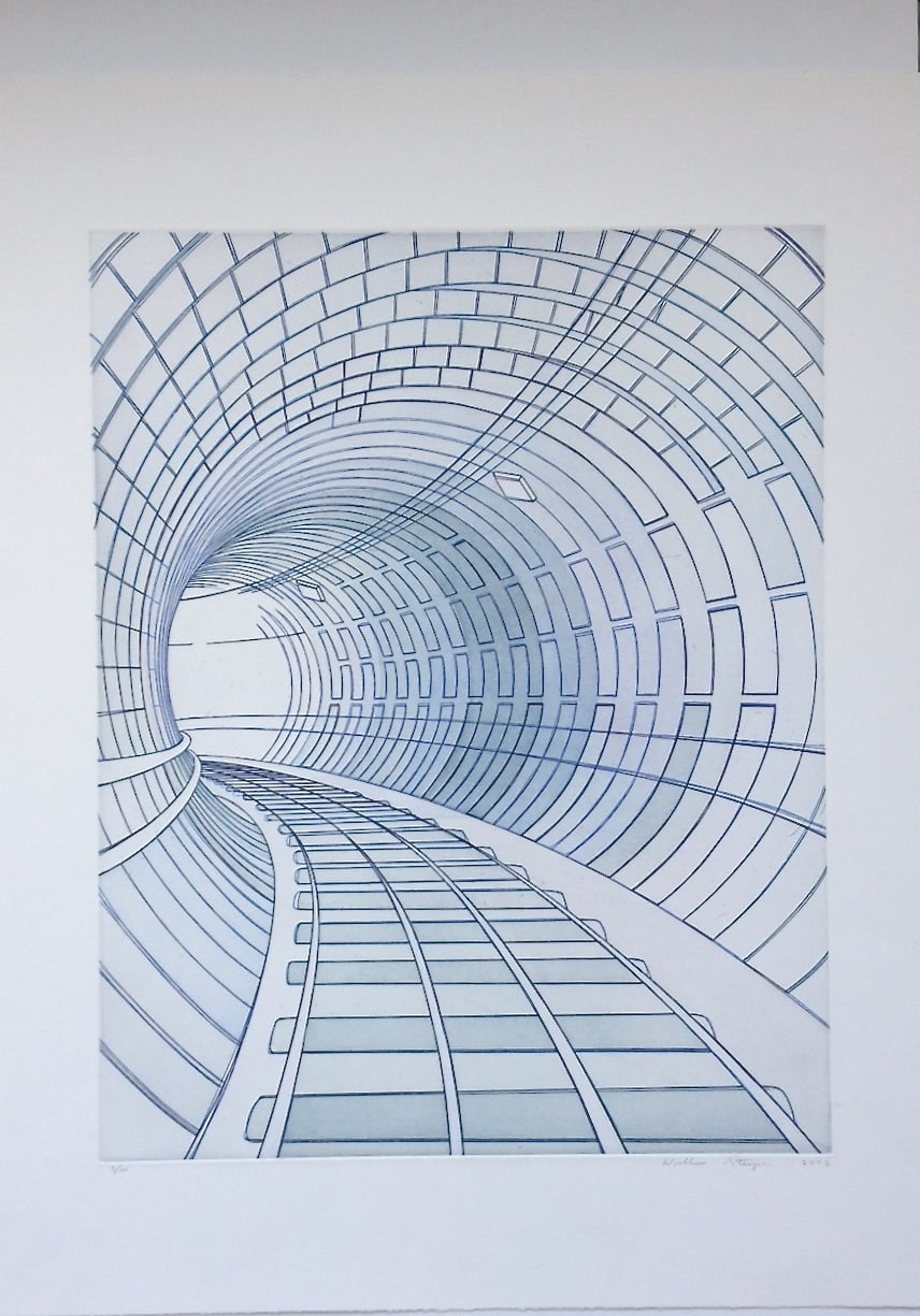 Tunnel , 2002, edition 5/25, etching and aquatint on paper, 26.5 x 22.5 inches (unframed), $1200. (unframed)