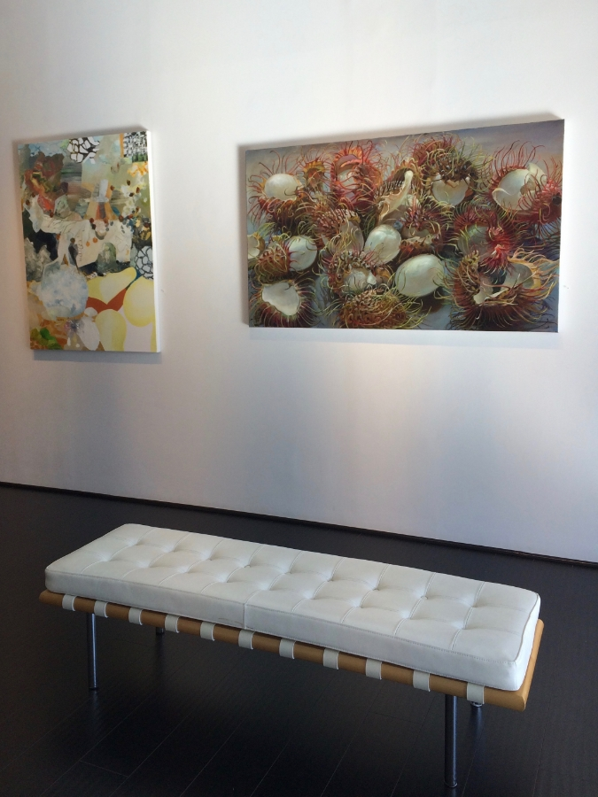 Installation view,  Irrational Exuberance  alongside  Papaya  by  Josette Urso