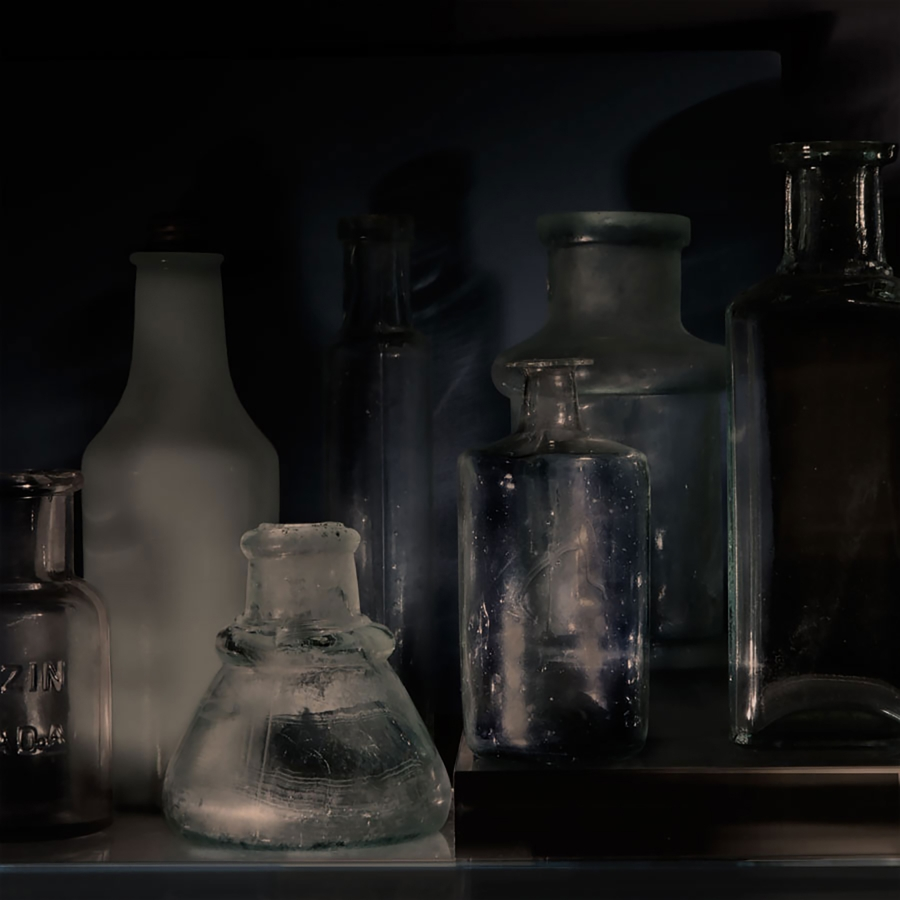 Small Bottles 24a square , 2015, archival pigment print on Epson hot press bright paper, 32.5 x 32.5 inches (unframed), $3500. (unframed)
