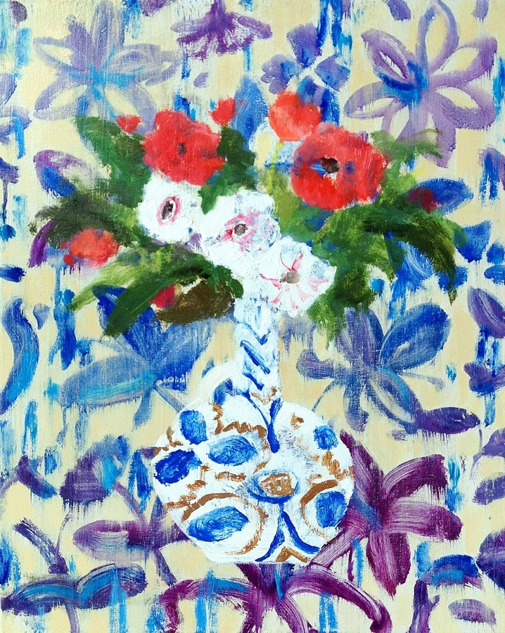 Phyllis Vase , 2015, oil on canvas, 20 x 16 inches, $2700.