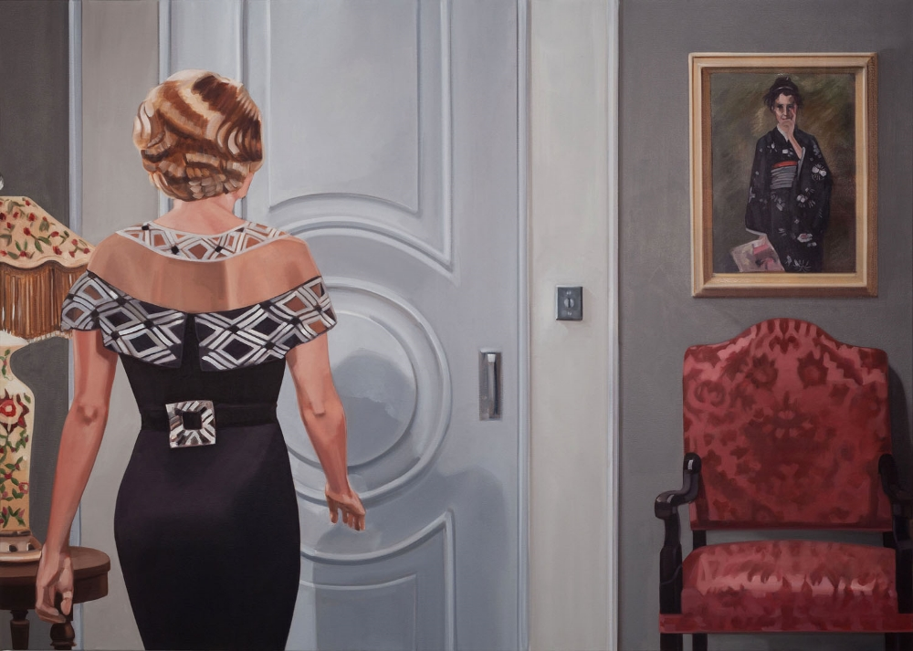 Black Dress , 2015, oil on canvas, 40 x 56 inches, $5600.