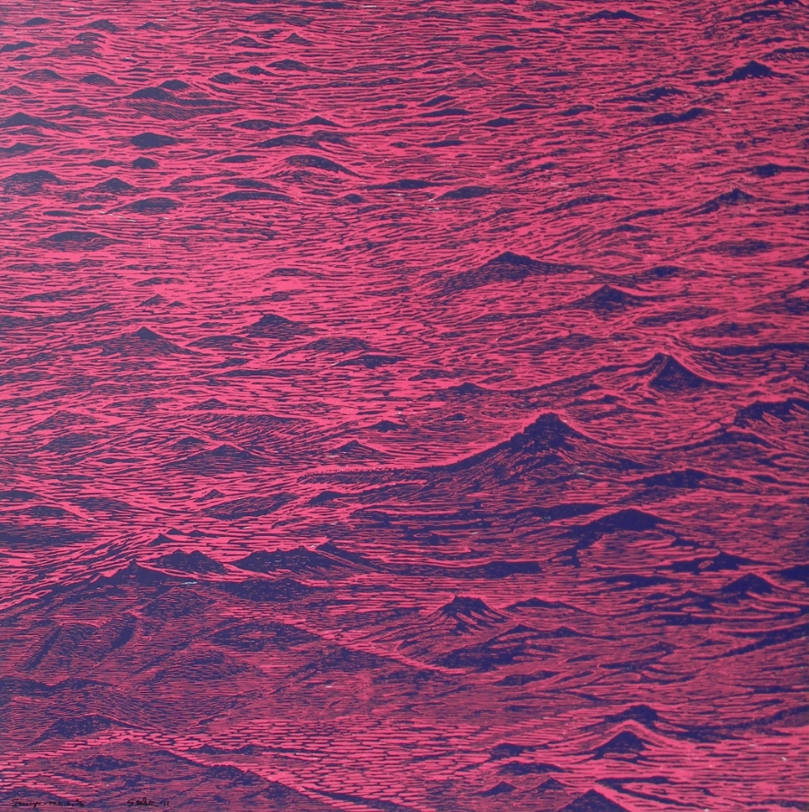 Seascape variation 5 , 2011, woodcut print with colored inks on paper, edition 2/2, 36 x 36 inches (unframed), $3000. (unframed)