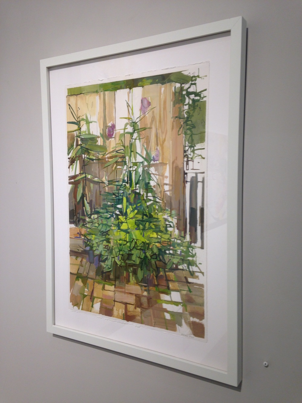 Installation view,  Wildflower Planter , 2015, oil and graphite on paper, 27 x 20 inches, $1350. (framed)