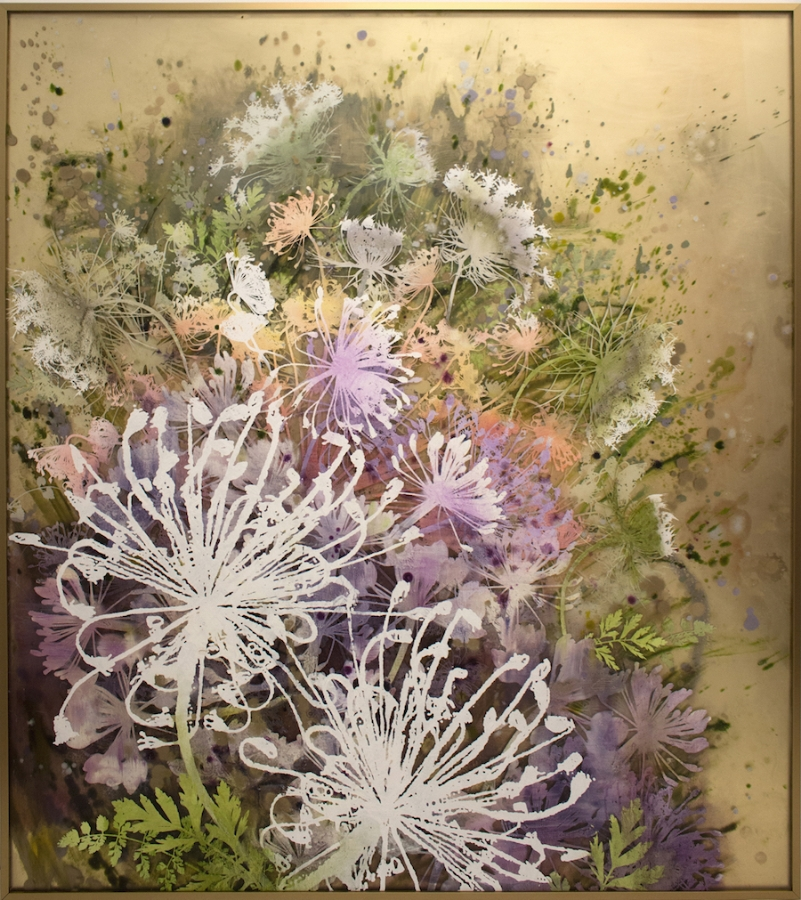 Cara Enteles,  Dill Flowers , 2015, oil on layered acrylic panel, 48 x 43 inches, $7200. (framed)