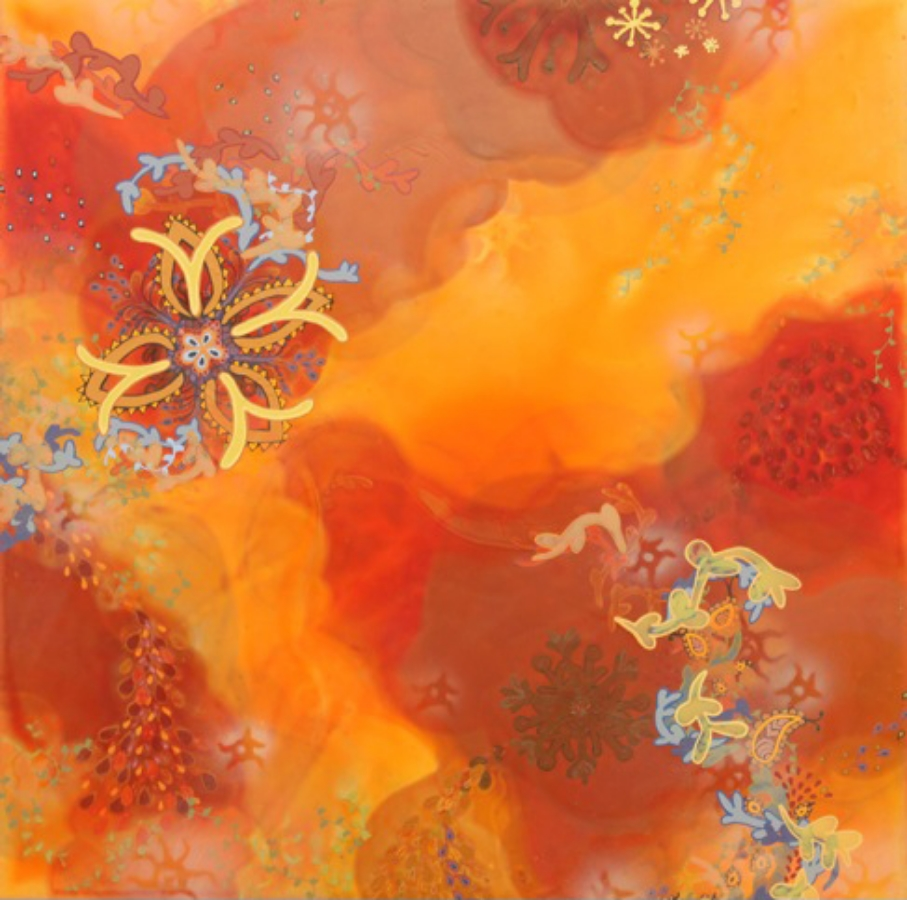 Molly McCracken,  Elusive Conception , 2009, acrylic on canvas, 24 x 24 inches, $2000.