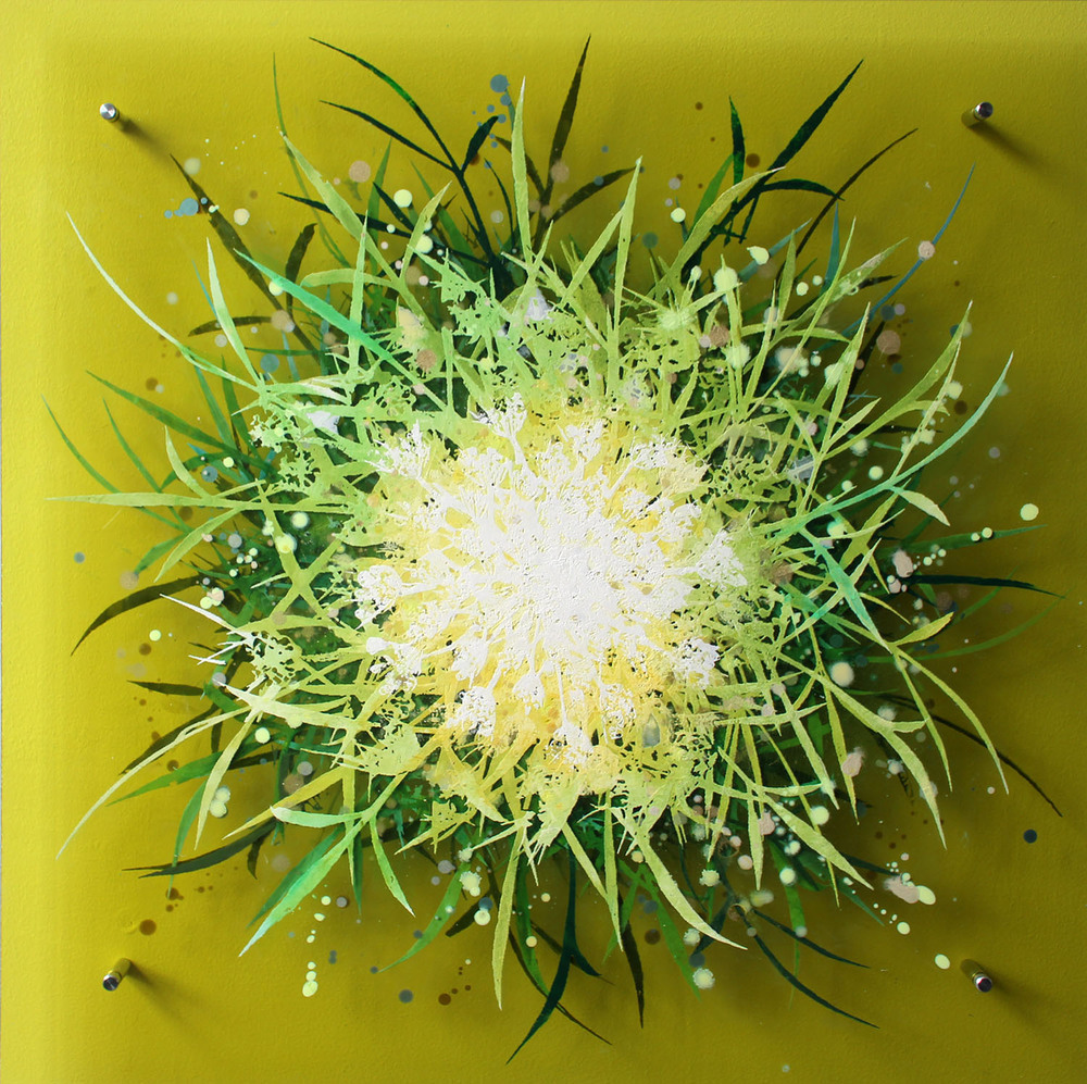 Cara Enteles,  Wildflower Yellow , 2016, oil on layered acrylic panel, 24 x 24 inches, $3000.
