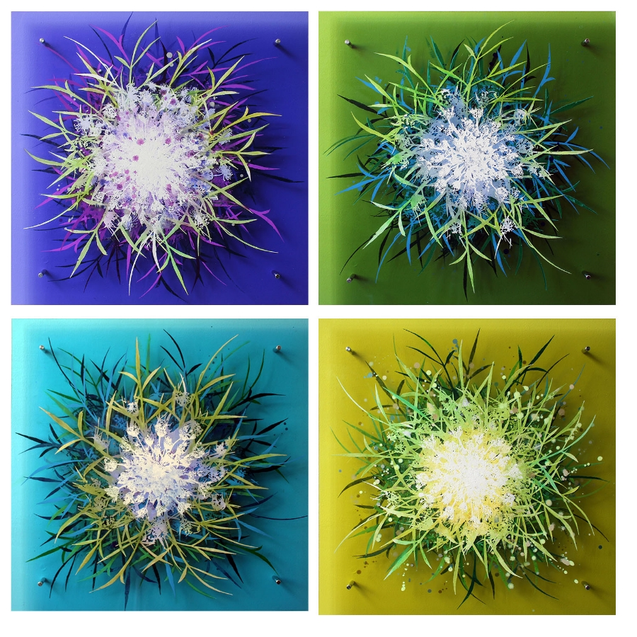 Cara Enteles,  Wildflower Foursome , 2016 oil on layered acrylic panel, 24 x 24 inches (each), 50 x 50 inches (total), $3000. (each) $10,500. (all four)