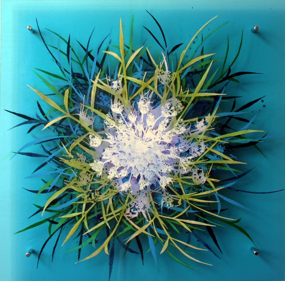Cara Enteles,  Wildflower Blue , 2016, oil on layered acrylic panel, 24 x 24 inches, $3000.