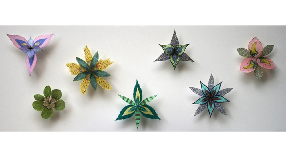 Jill Parisi,  Colorburst Pinwheels , 2014, digital prints and hand-colored lithographs on hand-cut tissue weight kozo and gampi papers, entomology pins, acid-free foam core, 16 x 41 x 2.25 inches, $4500.