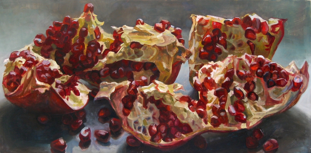 Pomegranates (reclining) , 2005, oil on canvas, 24 x 48 inches, $4200.