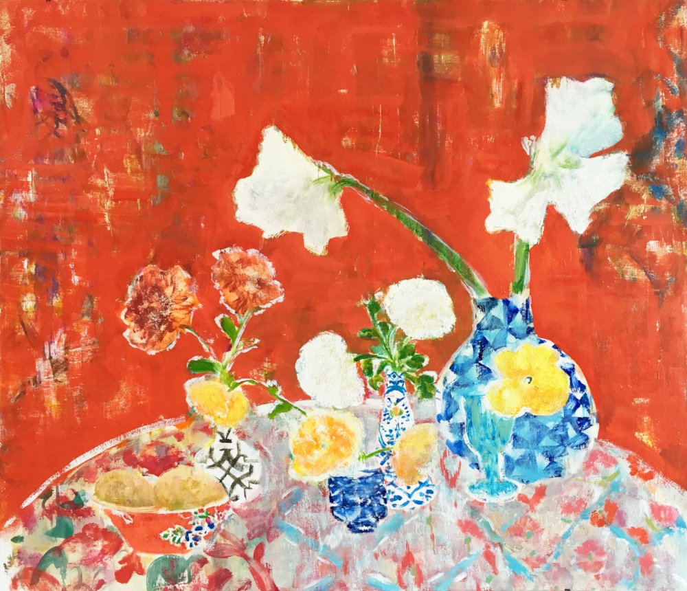 Amaryllis Table , 2016, oil on canvas, 35 x 40 inches, $4900. (sold)