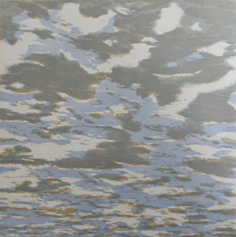 Clouds variation 22 , 2014, woodcut print with colored inks on paper, edition 1/1 (monotype), 36 x 36 inches, $3000. (unframed)