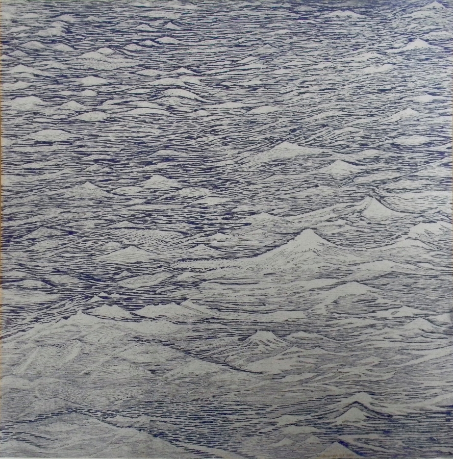 Silver Seascape Diptych 1 (left),  2014, woodcut print with colored and silver inks on paper, edition 1/1 (monotype), 36 x 36 inches (unframed) (each), 36 x 72 inches (unframed) (diptych), $3000. (unframed) (each), $6000. (unframed) (diptych)
