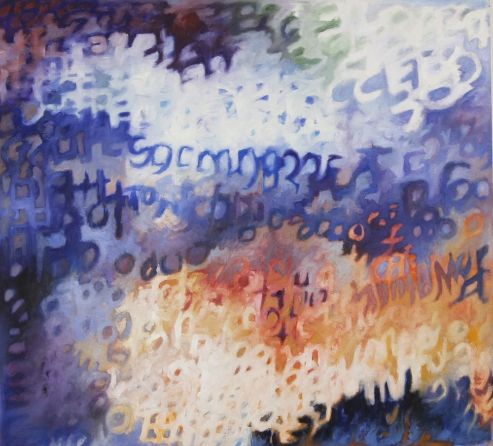 Coalescence 3 , 2014, acrylic and oil on canvas, 42 x 46 inches, $4200.