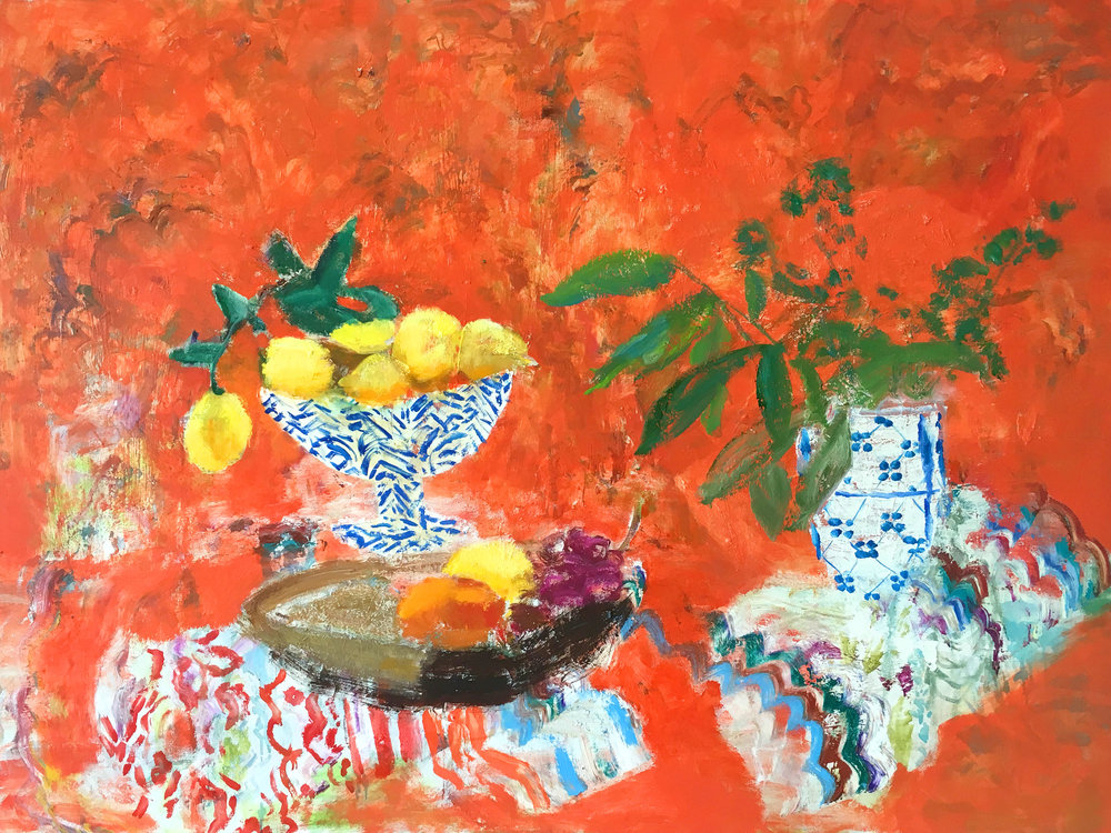 Red Fiesta , 2016, oil on canvas, 36 x 48 inches, $5500.
