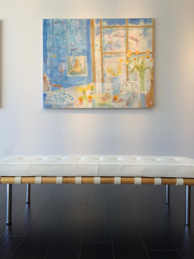 Installation view:  Paule's Table , 2015, oil on canvas, 48 x 60 inches, $8000.