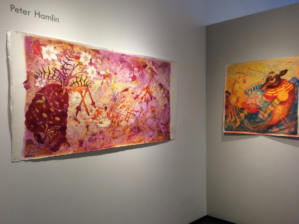 Installation view, drawings by Peter Hamlin