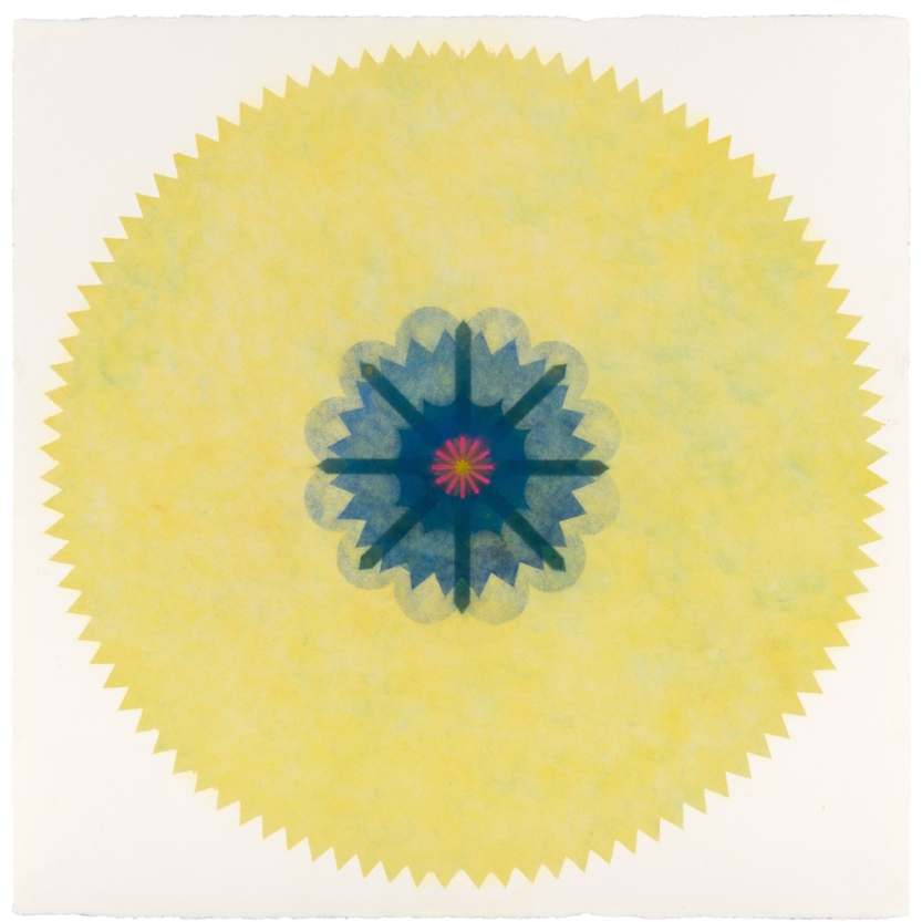 Pop Flower 35 , 2016, powdered pigment on paper, 30 x 30 inches (unframed), $3900. (unframed), 34 x 34 inches (framed), $4300. (framed)