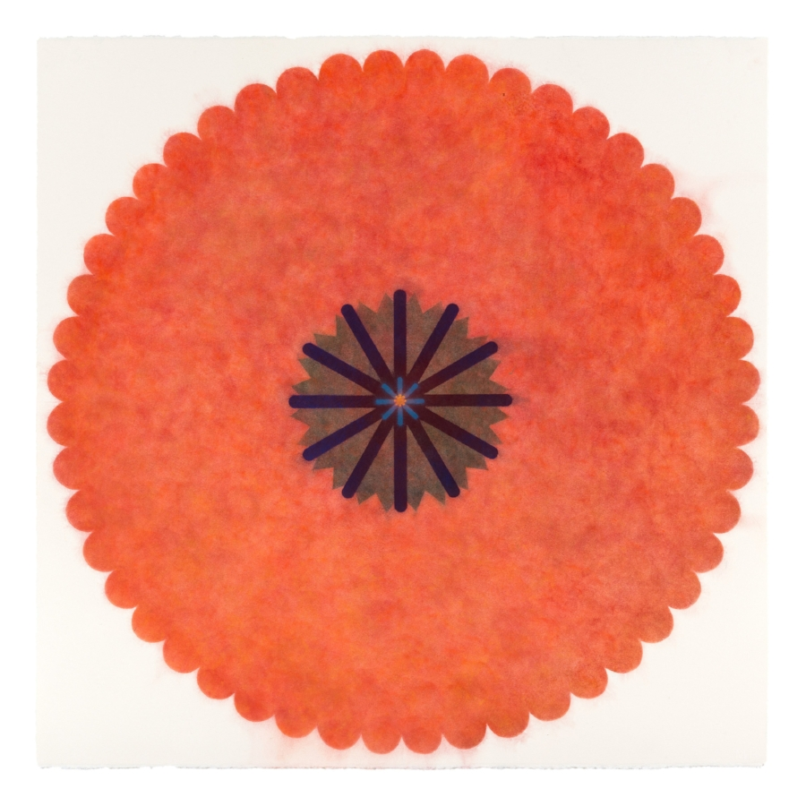 Pop Flower 28 , 2016, powdered pigment on paper, 30 x 30 inches (unframed), $3500. (unframed), 33.75 x 33.75 inches (framed), $3850. (framed) (sold)