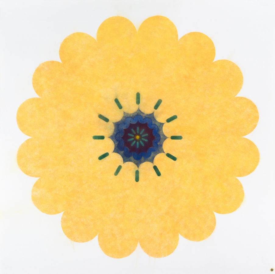 Pop Flower W01 , 2016, powdered pigment on paper, 40 x 40 inches (unframed), $4500. (framed)