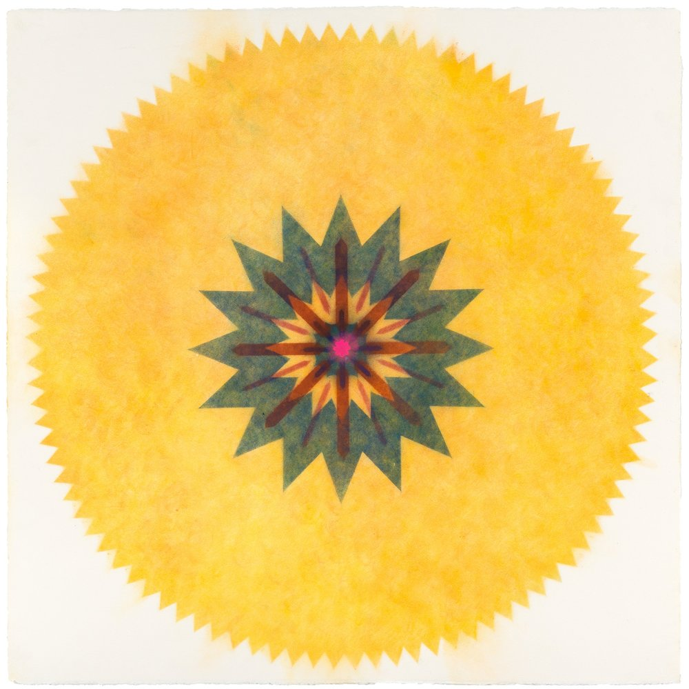 Pop Flower 30 , 2016, powdered pigment on paper, 30 x 30 inches (unframed), $3500. (unframed), 33.75 x 33.75 inches (framed) $3850. (framed) (sold)