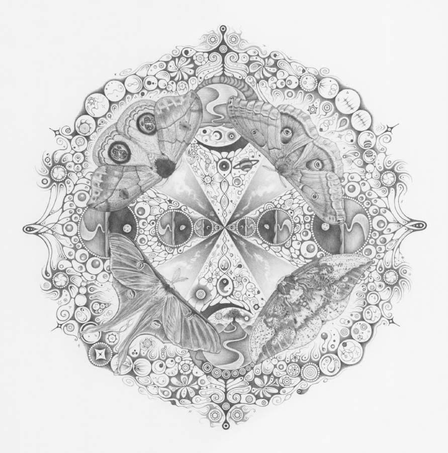 "Michiyo Ihara,  Snowflakes #139,""Companions,""  2015, graphite on paper (hand-drawn), 22.25 x 22.25 inches (unframed), 25.25 x 25.25 inches (framed), $5000. (framed)"