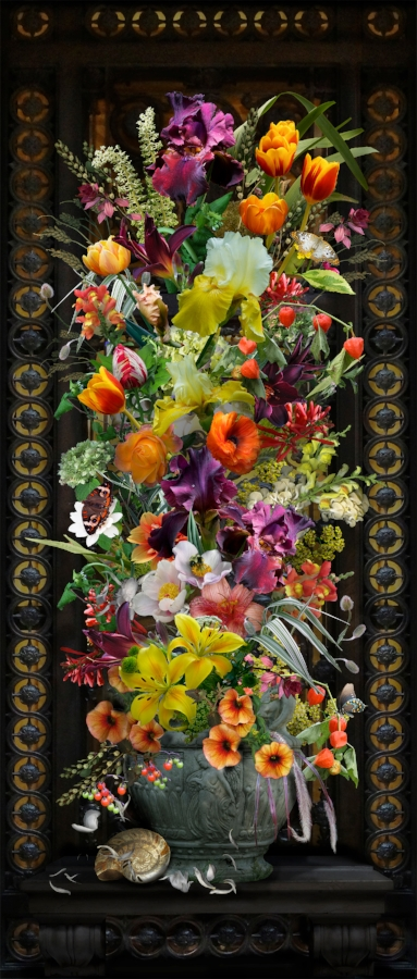 Lisa A. Frank,  Ironwork Specimen Panel , 2015, digital photograph on Simply Elegant Gold Fiber Pape, edition of 15, 39.75 x 16.75 inches (unframed) (image), 44 x 19.25 inches (unframed) (paper), $1150. (unframed)
