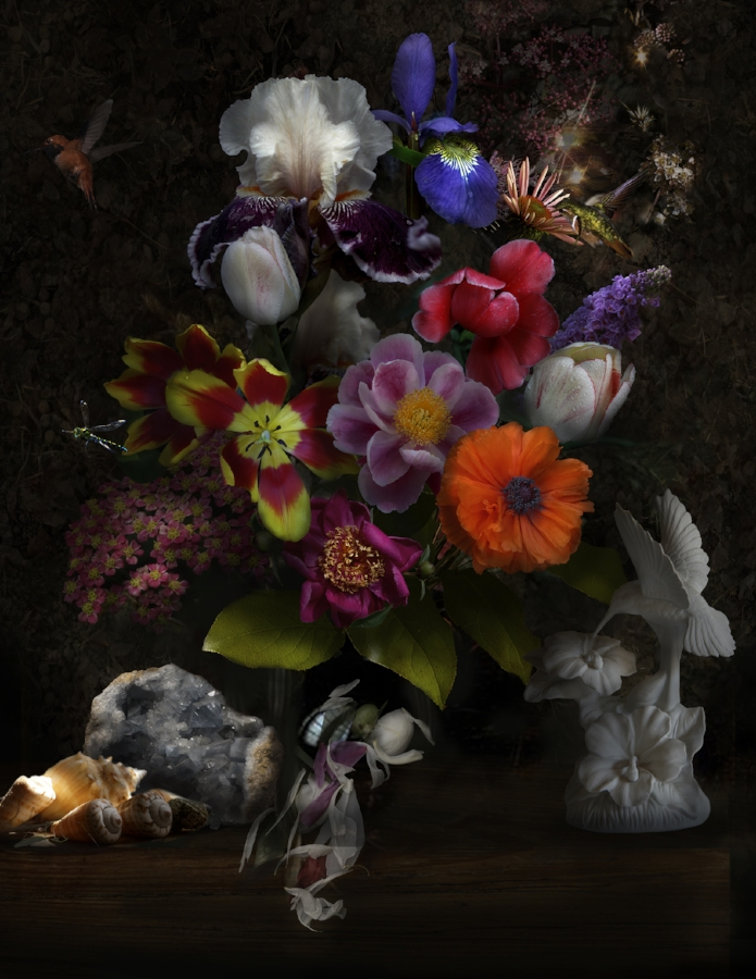 Lisa A. Frank,  Still Life with Hummingbirds , 2013, digital photograph on Simply Elegant Gold Fiber Pape, edition of 15, 40 x 31 inches (unframed) (image), 45.5 x 36 inches (unframed) (paper), $1500. (unframed)