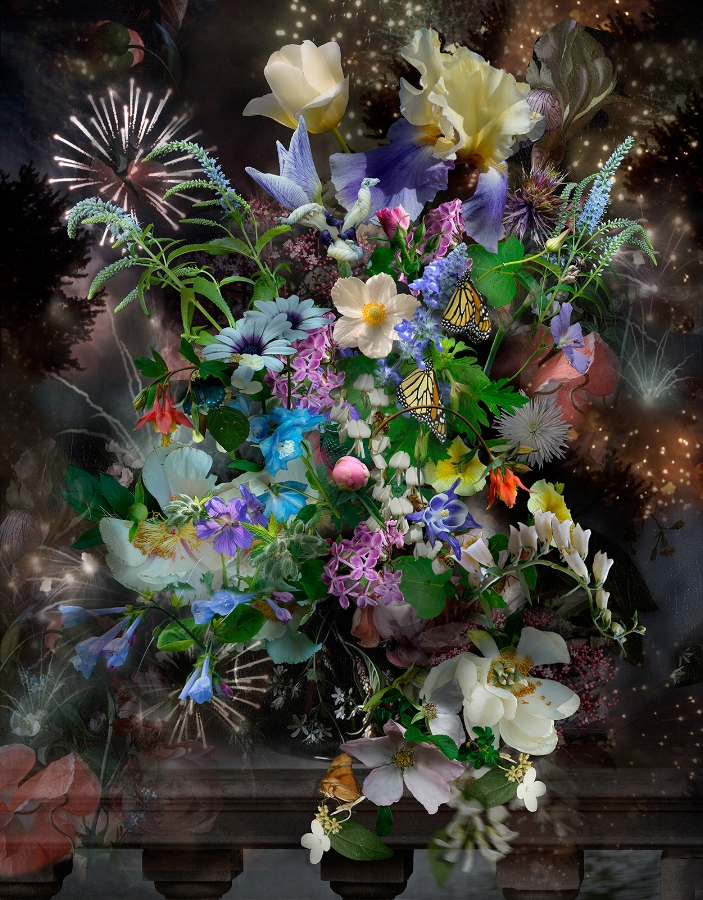 Lisa A. Frank,  Still Life with Monarchs , 2015, digital photograph on Simply Elegant Gold Fiber Pape, edition of 15, 37 x 28.75 inches (unframed) (image), 44 x 35.25 inches (unframed) (paper), $1500. (unframed)