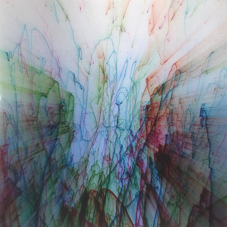 Shane McAdams,  Pen Blow #168 , 2016, ballpoint pen and resin on panel, 12 x 12 inches, $1800.