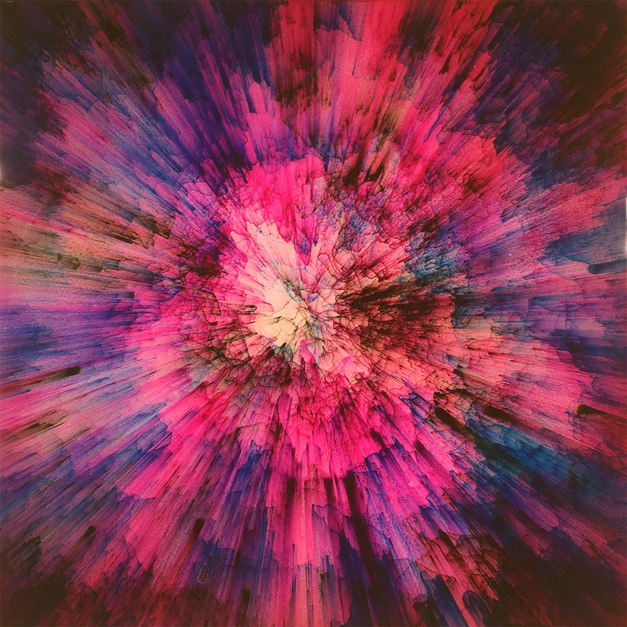 Shane McAdams,  Pen Blow #160 , 2016, ballpoint pen and resin on panel, 12 x 12 inches, $1800.