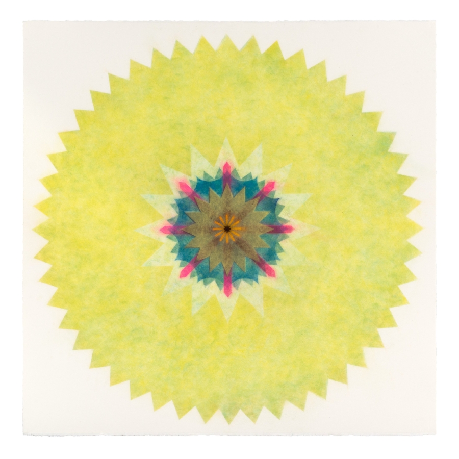 Pop Flower 36 , 2016, powdered pigment on paper, 30 x 30 inches (unframed), $3500. (unframed)