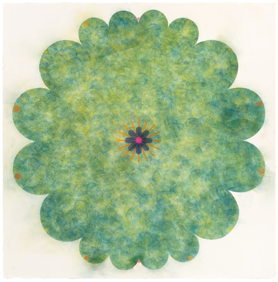 Pop Flower #108 , 2016, powdered pigment on paper, 30 x 30 inches (unframed), $3500. (unframed), 33.75 x 33.75 inches (framed), $3900. (framed)