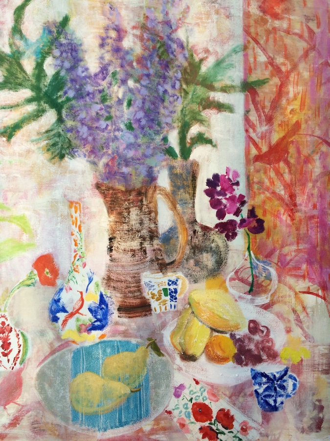 Melanie Parke,  Orchid Table  (detail), 2016, oil on canvas, 48 x 52 inches, $7500.