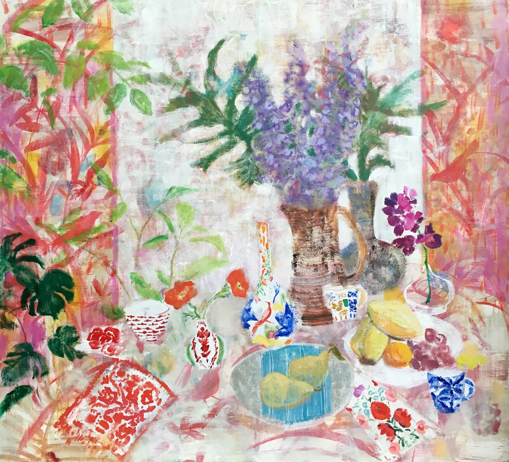 Melanie Parke,  Orchid Table , 2016, oil on canvas, 48 x 52 inches, $7500.