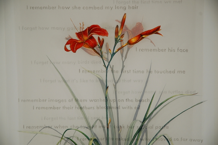 Christina de Gennaro,  The Garden  (detail), 2010, gouache (on acrylic gesso) and graphite on silk organza, 56 x 26 x 6 inches
