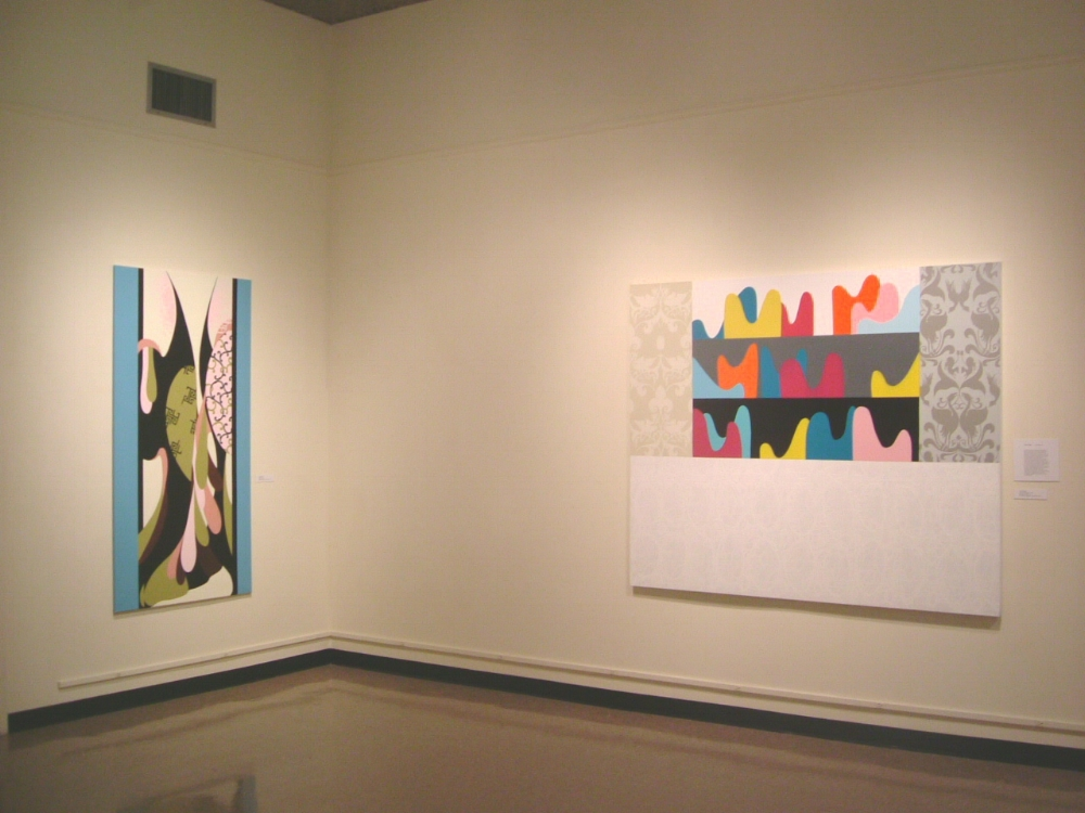 Tricia Wright,  Kimono , 2004, acrylic on canvas, 74 x 38.5 inches (left) Tricia Wright,  Strange Bedfellows , 2004, acrylic on canvas, 60 x 78 inches (right)