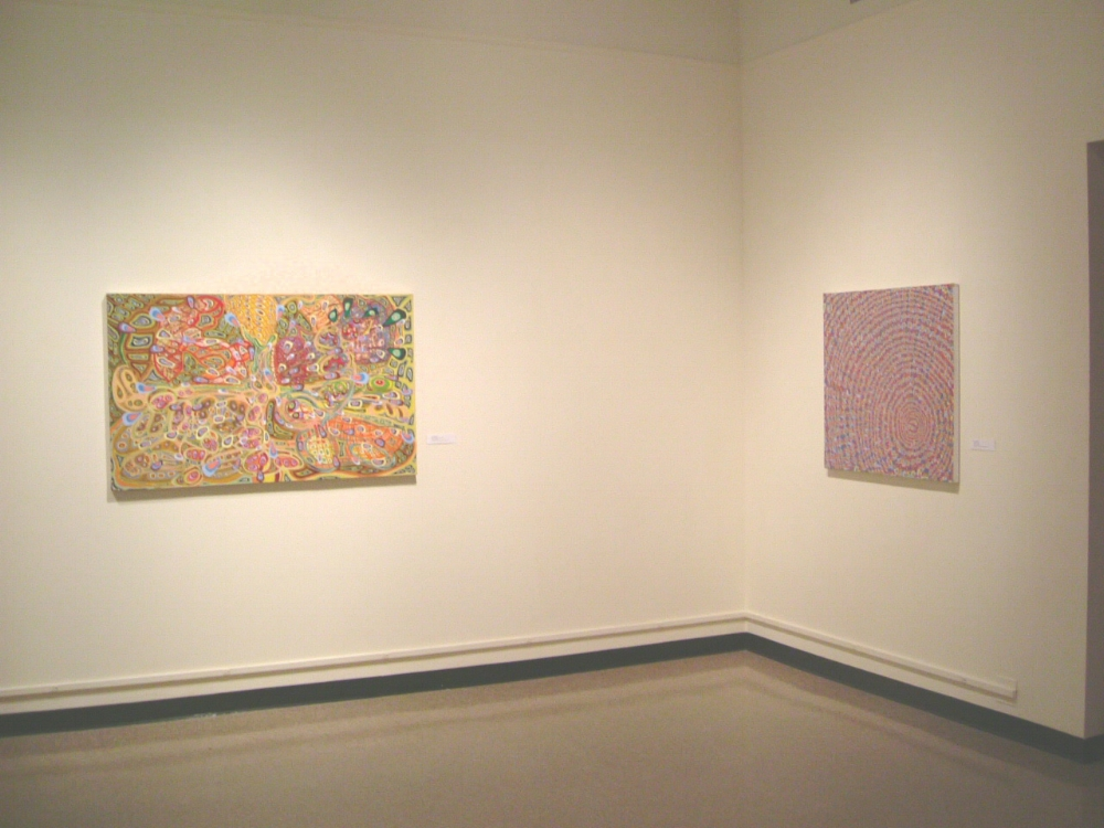 Laura Watt,  Walking Backwards , 2003, oil on canvas, 38 x 40 inches (left) Laura Watt,  Untitled , 2003, oil on canvas, 34 x 36 inches (right)