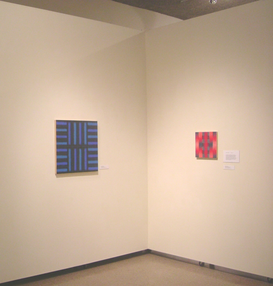 Katia Santibañez,  Blue Partition , 2004, acrylic medium on wood, 24 x 24 inches (left) Right: Katia Santibañez,  Dialogue on a Red Bed , 2005, acrylic medium on wood, 12 x 12 inches (right)