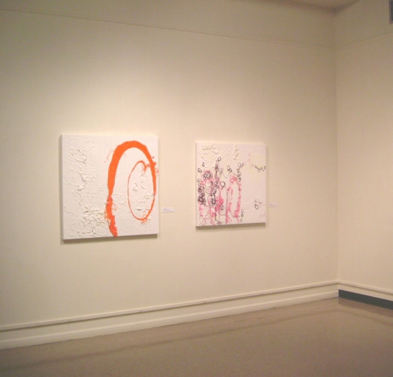 Peggy Bates,  Turnaround , 2004, acrylic on canvas, 40 x 40 inches (left)  Peggy Bates,  Loopy , 2004, acrylic polymers on canvas, 36 x 36 inches (right)