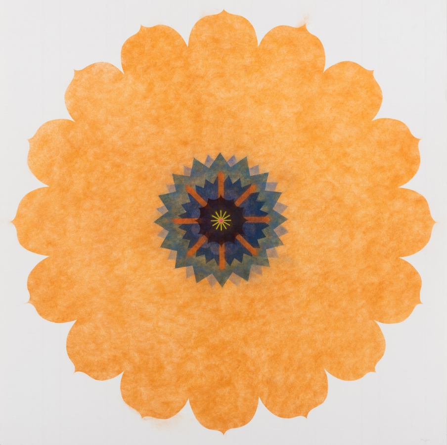 Pop Flower, Opus Series 03 , 2016, powdered pigment on paper, 44 x 44 inches (unframed), $4200. (unframed), 49.25 x 49.25 inches (framed), $4900. (framed)