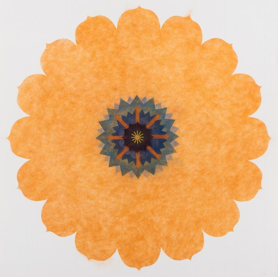 Pop Flower, Opus Series 03 , 2016, powdered pigment on paper, 44 x 44 inches (unframed), $4200. (unframed), 49.25 x 49.25 inches (framed), $4900. (framed) (sold)